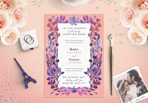 Pink and Purple Floral Border Wedding Invitation 1