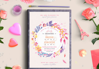 Purple and Yellow Floral Wreath Wedding Invitation 2