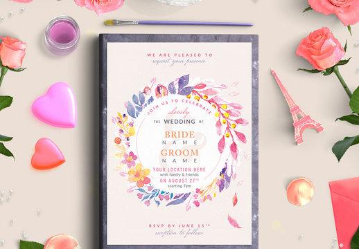 Purple and Yellow Floral Wreath Wedding Invitation 2