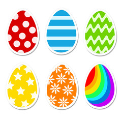 Colored bright Easter eggs in cartoon style on white. Stock vector iluustration for greeting card