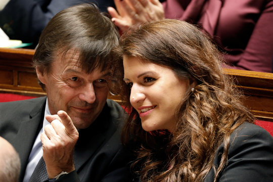 French Ministers Marlene Schiappa and Nicolas Hulot attend the questions to the government session at the National Assembly in Paris