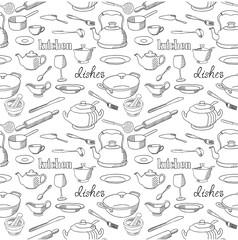 Dishes seamless pattern.