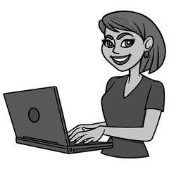 Female Blogger Illustration - A vector cartoon illustration of a Female Blogger.