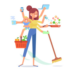 Super Mom - mother with baby, working, cooking, cleaning and make a shopping. Multitasking woman. Vector flat cartoon illustration.