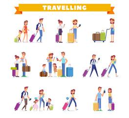 People traveling design. Character design. Big vector set, flat illustration.