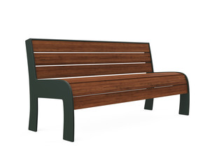 Wooden Park Bench Isolated