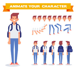Front, side, back, 3/4 view animated character. Treveler man  or student character with luggage. Constructor with various views, face emotions, poses. Cartoon style, flat vector illustration.