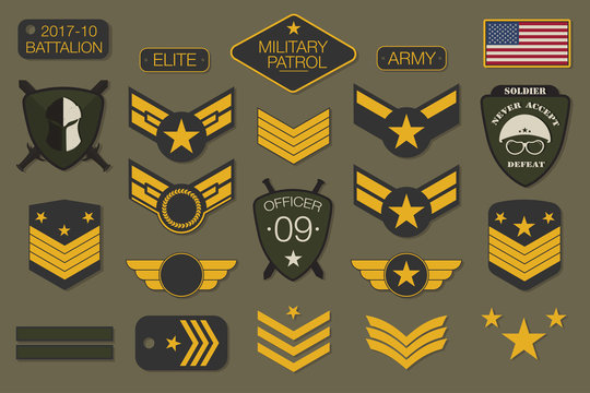 Military badges and army patches typography. Military embroidery chevron and pin design for t-shirt graphic