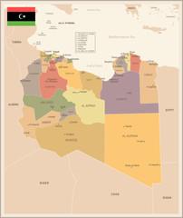 Libya - vintage map and flag - Detailed Vector Illustration