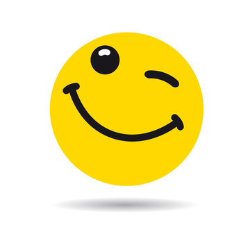 Big smiling emoticon wink symbol. Winking yellow smile in a flat design on white background. Vector emoticon yummy icon