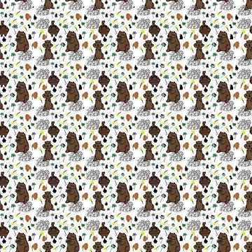 Groundhog Day seamless pattern background.