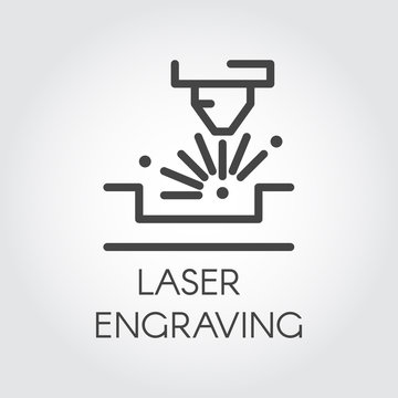 Machine for laser engraving line icon. Special equipment for cutting on hard materials. Automation and precision system. Graphic contour simplicity pictogram. Vector illustration