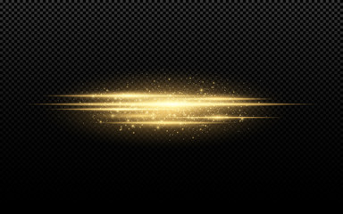 Abstract stylish light effect on a transparent background. Golden glowing neon lines in motion. Golden luminous dust and glare. Flash Light. luminous way. Vector illustration Wall mural