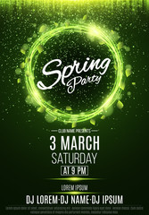 Poster for a spring party. Abstract banner of swirling neon lines. Green fresh leaves. Invitation card in night club. The names of the club and DJ. Luminous dust. Vector illustration