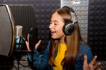 Girl in a recording studio