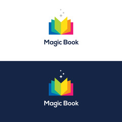 Colorful open book logo.