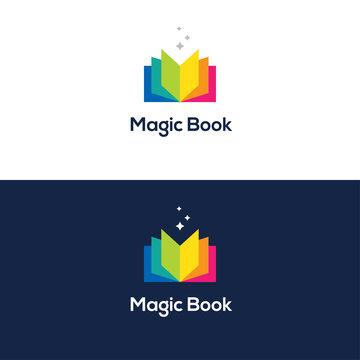 Colorful open book logo.