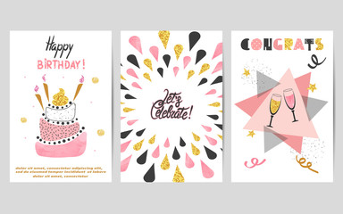 Happy Birthday cards set in pink, black and golden colors. Celebration vector illustrations with birthday cake and champagne glasses.