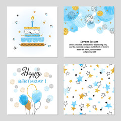 Happy Birthday cards set in blue and golden colors. Celebration vector illustrations with birthday cake, balloons and stars.
