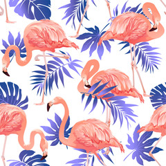 Flamingo Bird and Tropical Flowers Background Seamless pattern