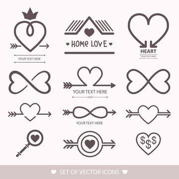Decorative icon for Valentine's Day. Graphic romantic element Heart and arrow. Logo love vector illustration