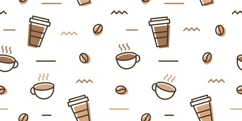 coffee bean mug cup memphis seamless pattern white background wallpaper download
