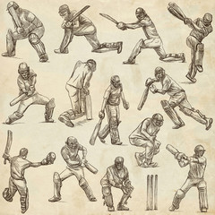 Cricket sport collection. Cricketers. Full sized hand drawings on old paper.