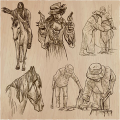 Wild West and Native Americans - An hand drawn vector pack. Line art collection.