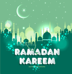 Muslim abstract greeting banners. Islamic vector illustration at sunset. Ramadan Kareem in translation Congratulations