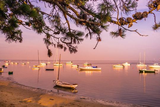 plage du Bassin d'Arcachon au soleil couchant