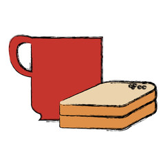 coffee cup with bread sliced vector illustration design