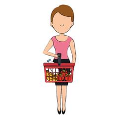 customer with shopping basket vector illustration design