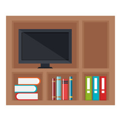 shelving with books and tv icon vector illustration design