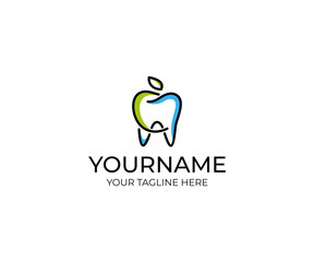 Tooth and apple linear logo template. Dental clinic vector design. Healthy eating illustration