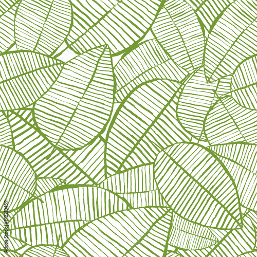 """Spring Green Leaves And Flowers Background With Plants: """"Vector Seamless Watercolor Leaves Pattern. Green And"""