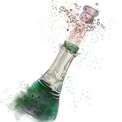 Opening champagne bottle, splash