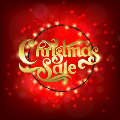 New year and Christmas sale poster with glowing light effects. Vector illustration.