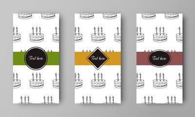 vector design of leaflet cover with print of birthday cake with candle pattern