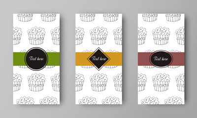 vector design of leaflet cover with print of cake pattern