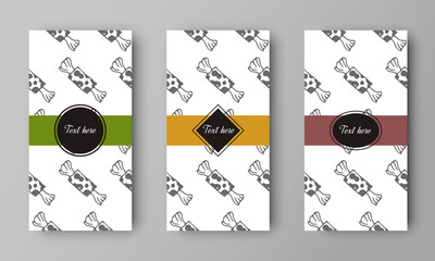 vector design of leaflet cover with print of candy pattern