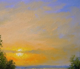 Sky, sun, oil paintings landscape, texture