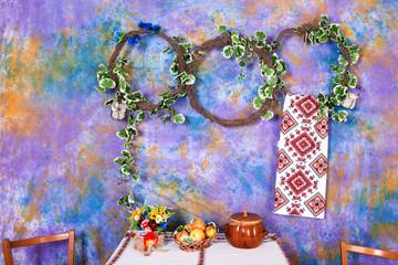 Tuinposter Imagination Ekibana with flowers in Ukrainian style. Interior in the Ukrainian style.