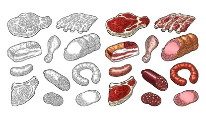 Set meat products. Vintage black vector engraving illustration. I