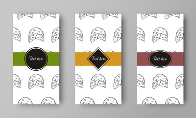 vector design of leaflet cover with print of peace of cheese pattern