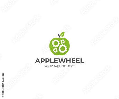 Apple And Gear Wheel Logo Template Gear Mechanism In Apple Fruit