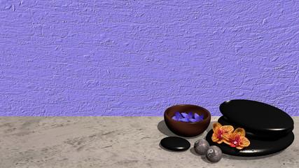 Schale mit Blüten, ein Steinhaufen aus Bimssteinen, Chinesische Qi Gong-Kugeln und Orchideenblüten auf lila Hintergrund. 3d render