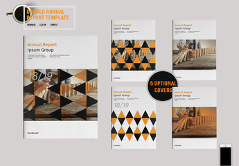 Annual Report Layout with Triangular Patterns 1