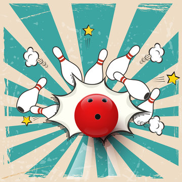 Vector realistic bowling ball on pop art background. Bowling strike.