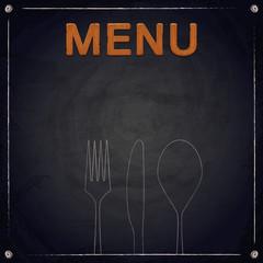 Menu of restaurant made of wood on chalkboard background