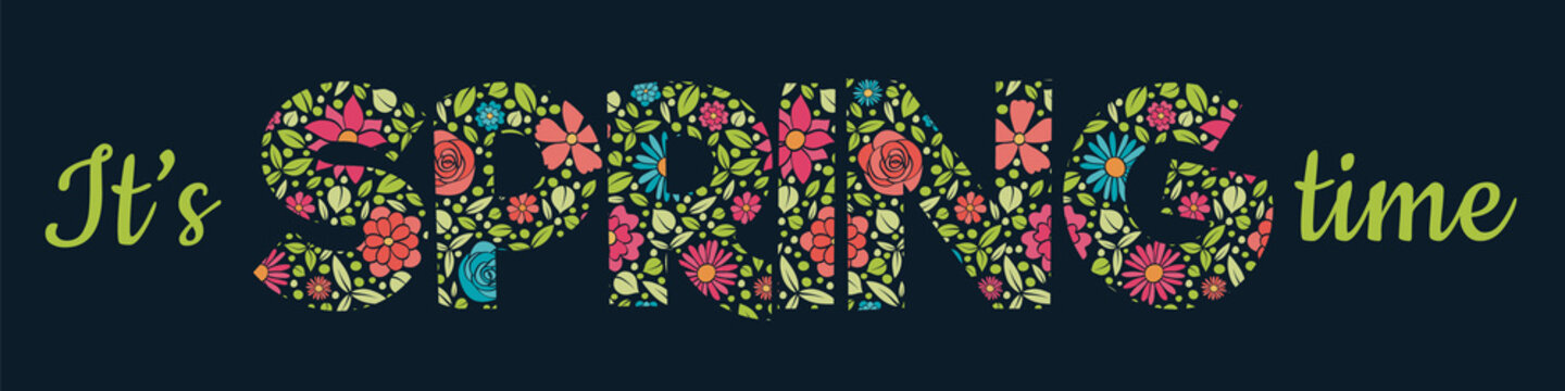 Beautiful Spring text with hand dawn flowers. Vector.